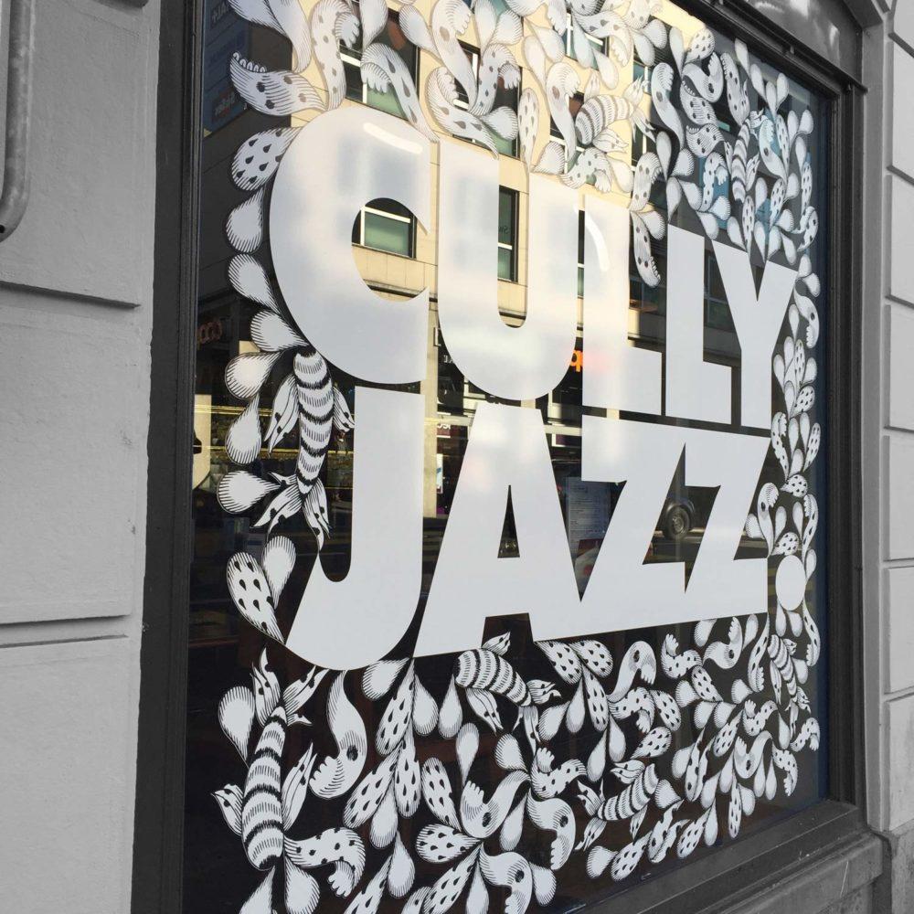 Signalétique architecturale vitrine cully jazz